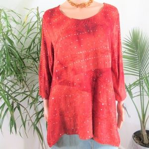 JM Collection* Flowy Embellished Tunic Top